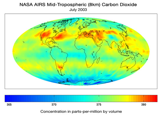 Mid-Troposphere CO2 Distribution